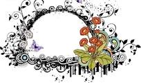 精美小野花卷草和蝴蝶围绕的半圆
