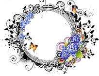 蓝色花朵蝴蝶涂鸦圆形边框