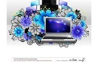 蓝色时尚花朵和卷草装饰的闪亮手提电脑