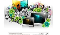 绿色花朵卷草装饰的液晶电视