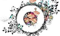 美丽花朵和卷草蝴蝶上白色的圆圈