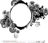 线描百合花围绕的椭圆边框