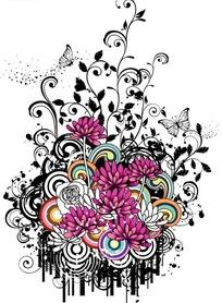 紫色花朵和卷草蝴蝶装饰花纹