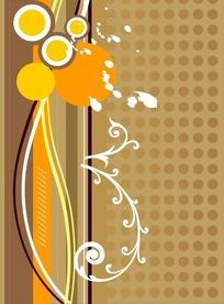 棕色点阵和时尚花纹矢量图