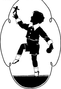 手绘拿着布偶欢跃的男孩剪影