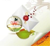 红色印泥的信封与水晶球中的爱心EPS矢量文件