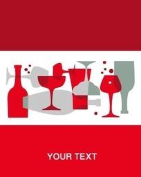 时尚酒瓶高脚杯底纹卡片设计