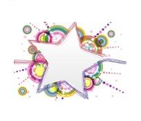 背景插画彩虹绚丽的五角星边框底板