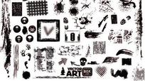 单色暗黑系骷髅裂缝等墨痕集合AI矢量文件