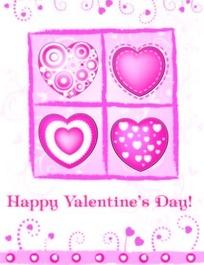 粉红色调心形图案