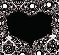 黑色背景上的创意花纹与心形图案