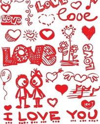 红色调情人节卡通素材