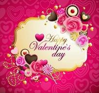 红色调心形花纹背景上的边框与巧克力玫瑰花