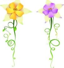 可爱的黄色紫色花朵和卷草