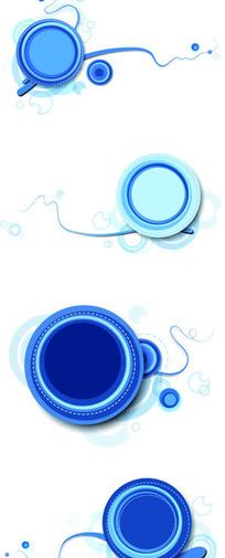 蓝色调创意圈点图案