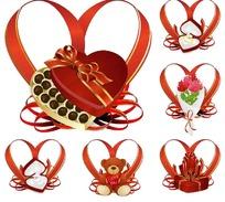 心形彩带与情人节礼物