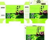 绿色清新的碧螺春茶叶包装展开图和效果图