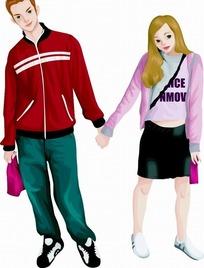 卡通插画——手牵手的一对情侣
