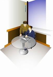 人物插画办公室圆桌上一起工作的职业男女