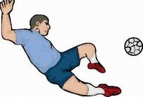 矢量卡通插画-踢足球的男人