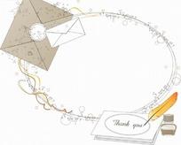 艺术边框画框线绘椭圆边框的信封和羽毛笔信纸