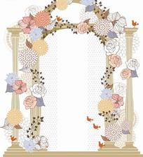 漂亮花朵缠绕的拱门AI素材