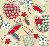 浅绿色背景葡萄花朵图案