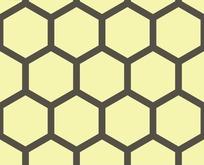 底纹—黄色背景上的深灰色六边形构成的蜂窝图案