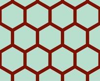底纹—朱红色六边形构成的蜂窝图案