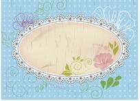 蓝色背景前手绘花朵和枝条装饰的椭圆边框