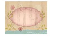 竖线前的插画枝条和花朵装饰的粉色椭圆边框