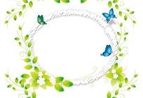 插画枝条花朵和蝴蝶装饰的椭圆边框