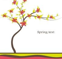 长满红色花朵和嫩绿色叶子的树木插画