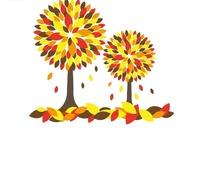 长满黄色红色深色树叶的树木插画