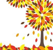 落叶和长满黄色红色深色树叶的树木插画