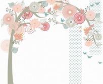 各种粉色花朵和叶子构成的花纹