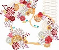 各种花朵和叶子以及飞鸟构成的花纹