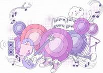 乐器和环形构成的紫色花纹