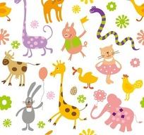 白色背景上的卡通动物和花朵以及气球