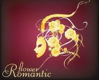戴着景色面具戴着玫瑰花朵的女士
