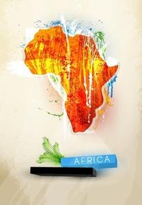 橙色墨迹的非洲地图