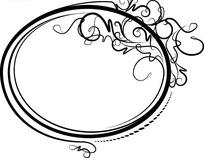 黑色椭圆边框和黑色曲线插画