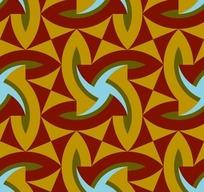 红色背景黄色风车三角形图案