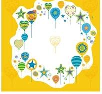 白色边框内侧的彩色气球和五角星插画