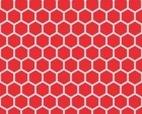 底纹—红色背景上的淡蓝色六边形构成的蜂窝图案