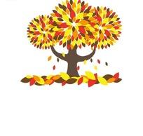 落叶和长满黄色红色深色树叶和落叶的树木插画