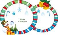 糖果条纹边框和五角星礼物盒雪人和圣诞树插画