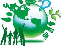 绿色地球表面的灯泡和枝条高楼以及手牵手的人插画