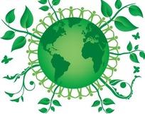 绿色地球表面手牵手的人和绿色枝条以及蝴蝶插画