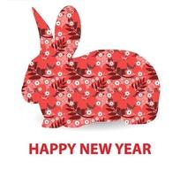 兔年新年填充红色花朵花卉的兔子